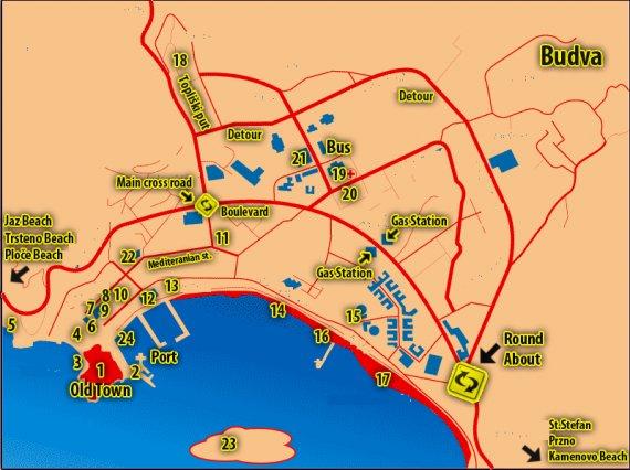 Карты Бара (Черногория) | Карта города Бар | Город Бар на ...